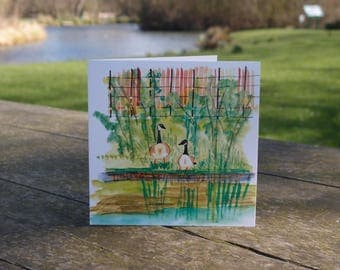 Happy birthday/Greetings card/Made in the UK/unique/fine art/Canada geese in Clissold Park, London