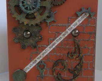 Rusty cogs gears - brick wall - it's always the small pieces that make the big picture - masculine / male / steampunk - greeting card