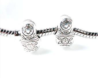 Matryoshka Doll Charm - Silver Matryoshka - Russian Doll Charm - Matryoshka Pendant - Fits all Charm Bracelets