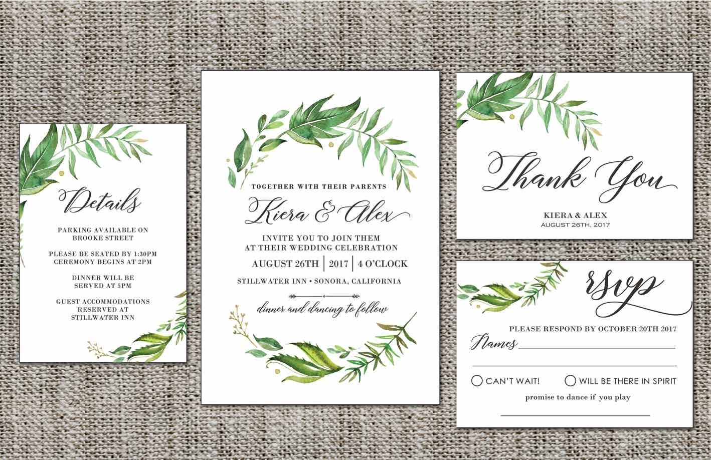 Leafy green Wedding Invite Set, Floral Wedding Invitations, Rustic ...