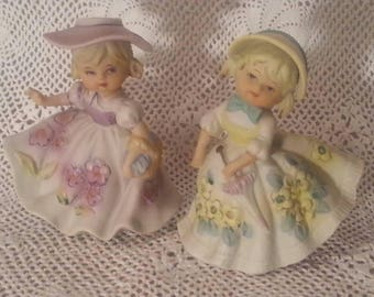 Vintage Victorian Girls Bisque Figurines Japan 1950's