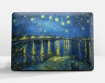"Laptop cover (Custom size) Van Gogh ""Starry Night over Rhone"" HP laptop cover Asus laptop cover Dell laptop cover Lenovo laptop cover etc."