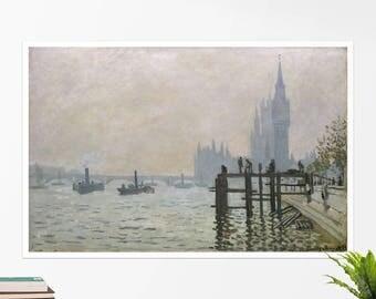 """Claude Monet, """"The Thames below Westminster"""". Art poster, art print, rolled canvas, art canvas, wall art, wall decor"""