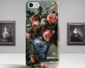 "Pierre-Auguste Renoir, ""Vase of Roses"". iPhone 8 Case Art iPhone 7 Case iPhone 6 Plus Case and more. iPhone 8 TOUGH cases. Art iphone cases."