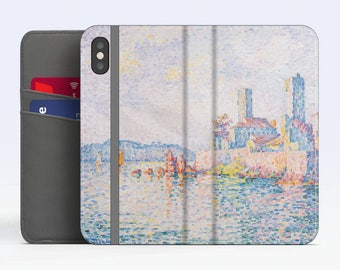 """Paul Signac, """"Antibes, the Towers"""". iPhone X Wallet case iPhone 8 Wallet case  iPhone 7 Plus Wallet case. Samsung Wallet cases."""