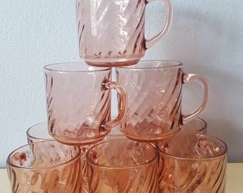 Vintage Pink Glass Mugs, Arcoroc France Pink Swirl Mugs