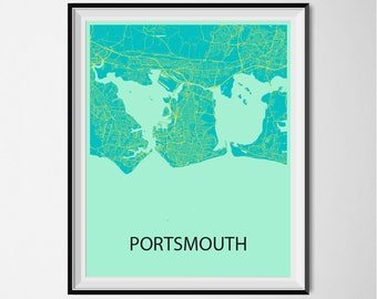 Portsmouth Map Poster Print - Blue and Yellow