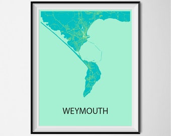 Weymouth Map Poster Print - Blue and Yellow