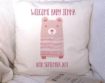 Personalized Baby Cushion Cover - New Baby Gift - Nursery Decor