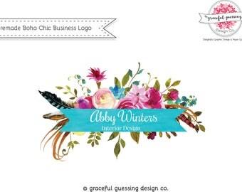 Bohemian Logo - Floral Logo Design - Feather Logo - Premade Logo - Affordable Logo Design - Small Business Logo Design - Boho Logo Design