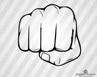 Hand Fist - Dxf,  Svg,  Eps,  Rld, RDWorks, Pdf, Png and AI Print Files, Digital Cut, Vector File, Svg File
