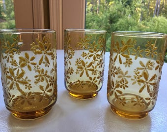 NOS Vintage Libby Gold Abstract Flower Set of 8 Glasses