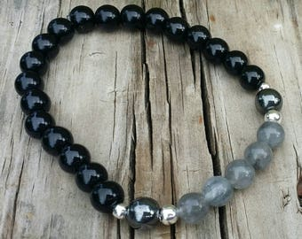 Men's Grounding bracelet. Cloudy quartz, Hematite, Black Onyx