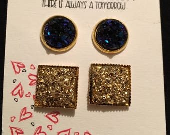 Dark Blue Druzy & Gold Druzy Square Duo