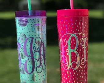 Monogrammed Skinny Tumbler, Custom Skinny Tumbler, Personalized Lilly Pulitzer Inspired, Bachelorette Party, Bridesmaid Gift,Gift for Her