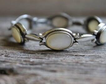 Vintage Sterling Silver Bracelet, Sterling Silver Bracelet, Mother of Pearl Bracelet, Free Shipping