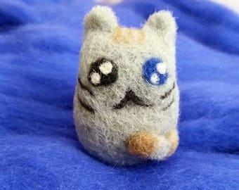 READY TO SHIP Cat Toy Pusheen Toy Cat Pusheen Geek Cat Felt Cat Needle Felted Cat Wool Cat Hand Made Cat Wool Toy Cat Japan Cat