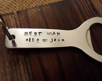 Handstamped made-to-order bottle opener for bridal party groomsmen gift!