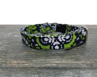 Paisley Cat Collars, Green Cat Collar, Pet Supplies, Cat Collar, Breakaway Cat Collar, Kitty Collars, Green Paisley Cat Collar, Safe Collar
