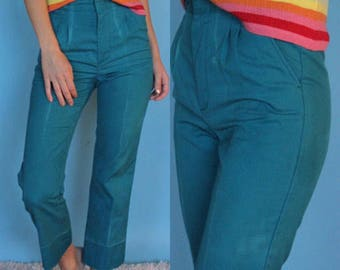 90s Teal Tappered Pant, Woman's Vintage Pant, Unicorn Brand Pleated jeans, Skater girl Casual Pant , Woman's size 0-2, Petite vintage pants