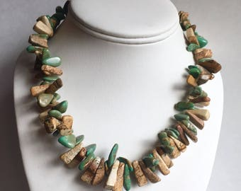 """Southwestern Picture Jasper And Turquoise Beaded Sterling Silver Necklace, Jasper Necklace, Turquoise Necklace, Southwestern Necklace, 19"""""""