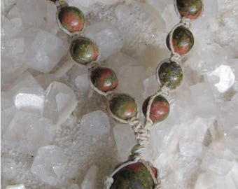 An Adjustable Sandalwood Macrame (Knotted) Hemp Necklace with a Smooth Tumbled Unakite Pendant Surrounded by 5 Unakite Beads, UNA#1