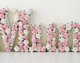 floral and flower letter full name // christening gift // baby shower // new baby gift // birthday gift // nursery // flower name //