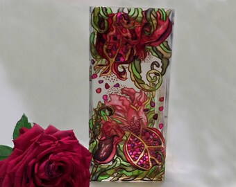 Handpainted Glass Vase Stained Glass Vase Coloured Glass Vase Purple red Flower gift Womens gift Mother Home Decor