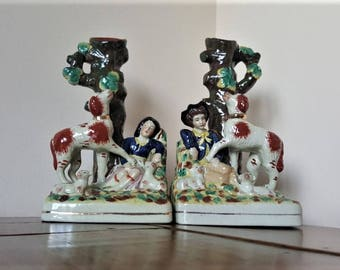 Antique Staffordshire 19th Century Spill Vases.