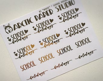 School Holidays SCRIPTS - FOILED Sampler Event Icons Planner Stickers