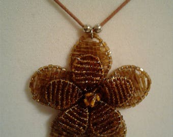 Rope Necklace with Flower Beaded Pendent #192