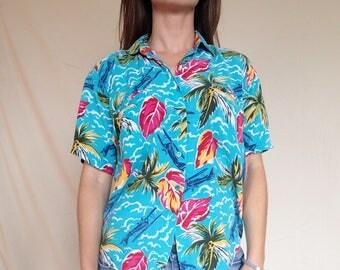 Ilio Turquoise Hawaiian with palms and planes