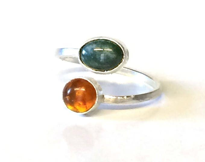 Amber and Moss Agate Adjustable Ring