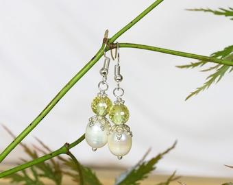 Faceted Peridot Crystal Earrings, Large  Pearl Earrings, Pearl and Peridot Earrings, Green and White Earrings, Bali Silver Earrings
