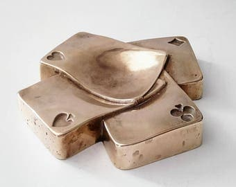 Ashtray brass poker cards. Vintage