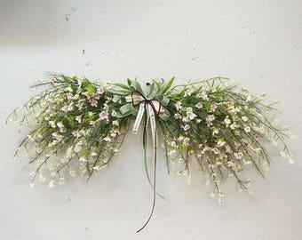 Artificial wax flowers swag / Door swag / Wall swag / Swag wreath / Door wreath / front door decor