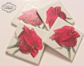 Set of 4 ceramic tea coasters / ceramic coasters / tableware/ drinkware/ handpainted / vintage decor/ Shabbychic / Decoupage / kitchen/table