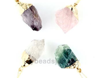 Natural Quartz Crystal Irregular Stone Point Chakra Healing Gemstone Pendants Necklace Amethyst Rose Quartz Citrine Quartz