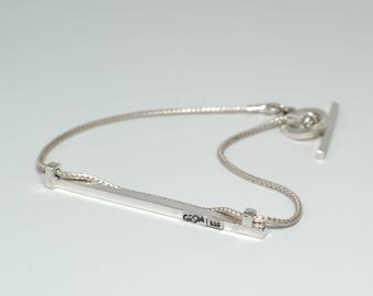 Bar Bracelet Minimalist Sterling Silver Handmade Bracelet Geometric Bracelet 925 Silver Bracelet