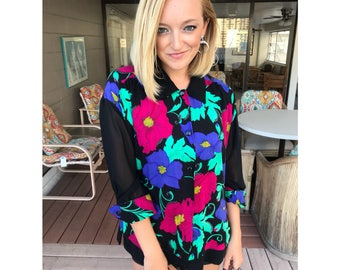 Flower Sheer Sleeve Button-up Blouse