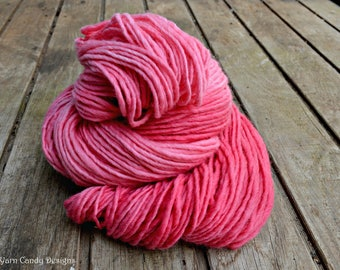 Pink Coral, hand dyed wool yarn, knitting, crocheting,felting, bulky, fiber, pink, dusty tones,red, yarn, crafting