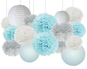 16pcs Boy Baby Shower Decorations Baby Blue Grey White Mixed Tissue Pom Poms Paper Lantern Party Favors Wedding Birthday Paper Decorations