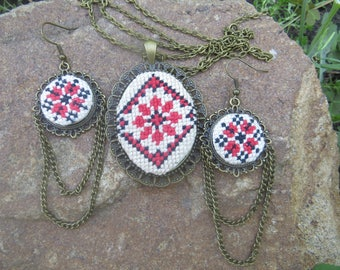 Ukrainian jewelry set Black red cross stitch necklace stitch jewelry embroidered Handmade necklace Ukrainian embroidery ukrainian gift