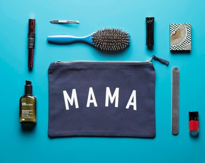 Featured listing image: MAMA - cotton makeup bag, travel bag, clutch bag