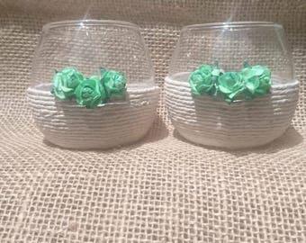 Green Flowerbud Tealight Holders