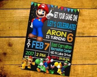 Super Mario Invitation- Super Mario Bros- Super Mario Birthday- Super Mario Invite- Super Mario Party- Super Mario Printable- Super Mario