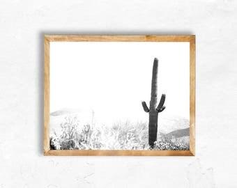 Instant Digital Download Saguaro National Park Cactus Photography Bohemian vintage black white  Jungalow Print Wall Art DIY dorm apartment