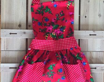 """Red Floral Goralski """"Tybet"""" Fartuch Dla Dzieci (Toddler/Kid Apron)"""