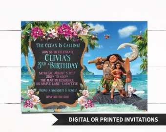 Moana Invitation, Printed Moana Invitation, Moana Birthday Invitation, Moana Party, Moana, Moana Birthday, Girl Invitations, 14