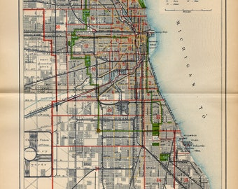 Antique map of Chicago from 1893